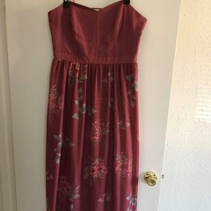 Muted Burgundy Floral Mesh Dress